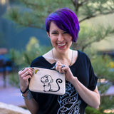 "Cykochik ""Monkey Moon"" embroidered canvas vegan wristlet/crossbody bag - Illustration by artist Michelle White (Model)"