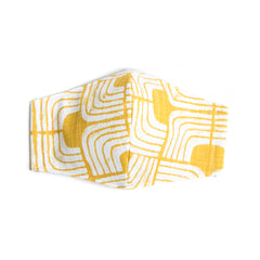 """Ochre Blocks"" Adjustable Fabric Face Mask"