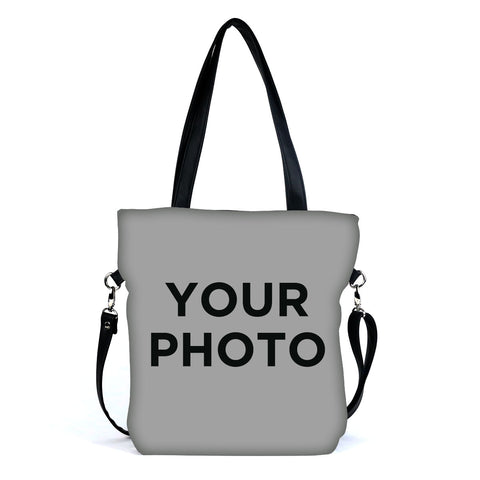 Custom Photo Eco Canvas Vegan Tote/Crossbody Bag (Multicolored)