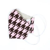 """Pretty in Pink Houndstooth"" Adjustable Fabric Face Mask"