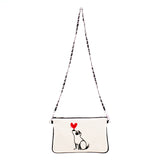 """Puppy Love"" Embroidered Canvas Vegan Clutch/Crossbody Bag - by artist Michelle White (Multicolored)"