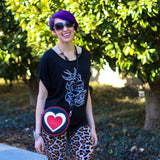 "Cykochik ""Queen of Hearts"" vegan crossbody/clutch bag - Model"