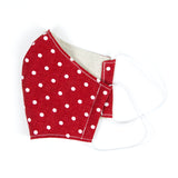 """Red and White Dots"" Adjustable Fabric Face Mask"