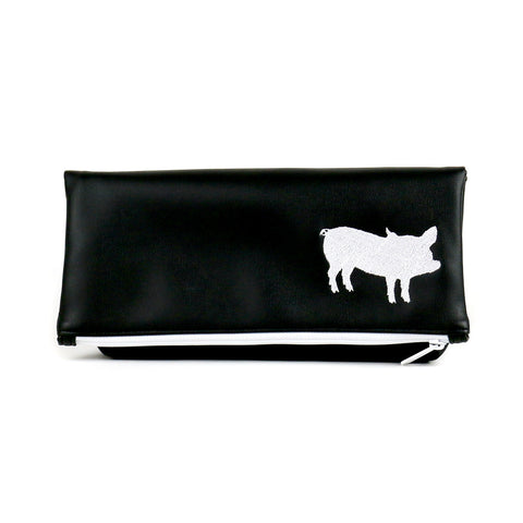 Cykochik X The Humane League embroidered pig eco-friendly vegan clutch handbag - Front