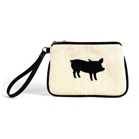 The Humane League Vegan Canvas Wristlet/Crossbody Bag (Multicolored)
