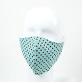 """Teal and Brown Dots"" Adjustable Fabric Face Mask"