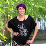 "Cykochik ""Vegan Tattoo"" Organic bamboo and cotton poncho tee - illustrated by artist Michelle White - Model 2"