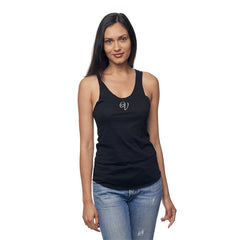 Black Cykochik Vegan V Heart embroidered Organic Bamboo and Organic cotton tank top - Front