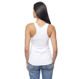 White Cykochik Vegan V Heart embroidered Organic Bamboo and Organic cotton tank top - Front