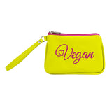 Embroidered Vegan Script Wristlet (Multicolored)