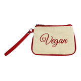 Embroidered Canvas Vegan Script Wristlet (Multicolored)