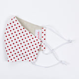 """White and Red Dots"" Adjustable Fabric Face Mask"