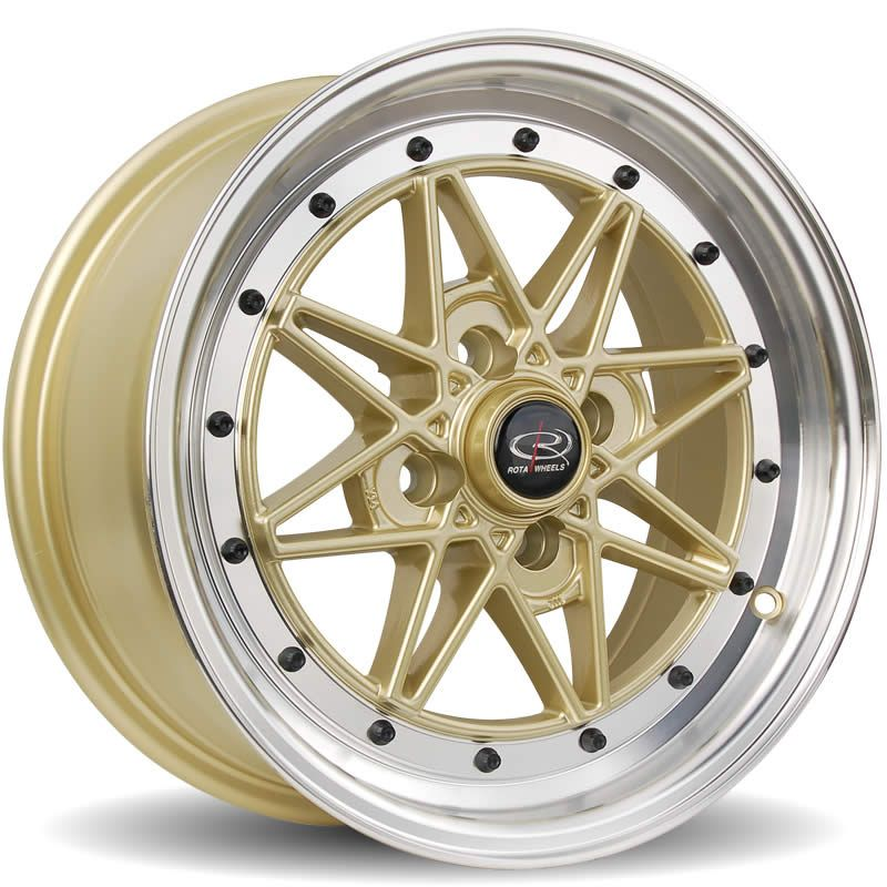 Rota Flashback, 15 x 7 inch, 4100 PCD, ET40 Gold Polished Lip - Rotashop