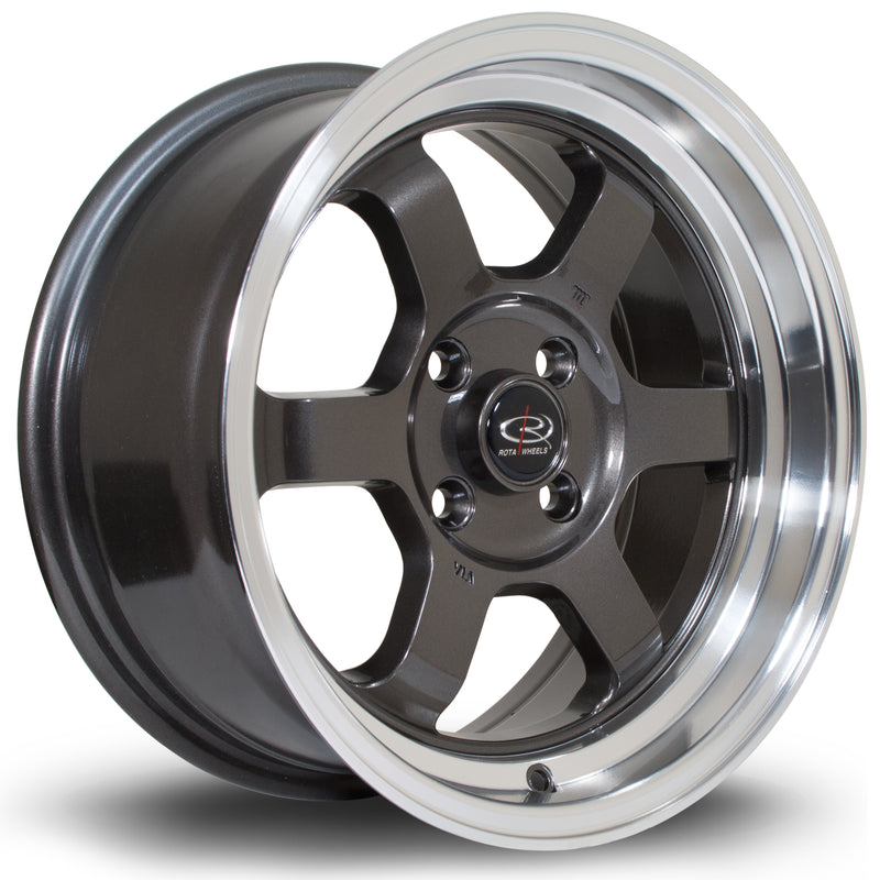 Rota Grid-V, 15 x 7 inch, 4100 PCD, ET20 Gunmetal Polished Lip - Rotashop