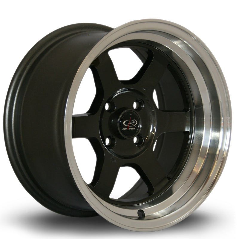 Rota Grid-V, 15 x 8 inch, 4100 PCD, ET0 Gunmetal Polished Lip - Rotashop