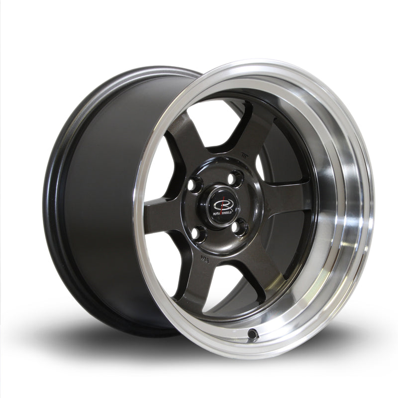 Rota Grid-V, 15 x 9 inch, 4100 PCD, ET0 Gunmetal Polished Lip - Rotashop