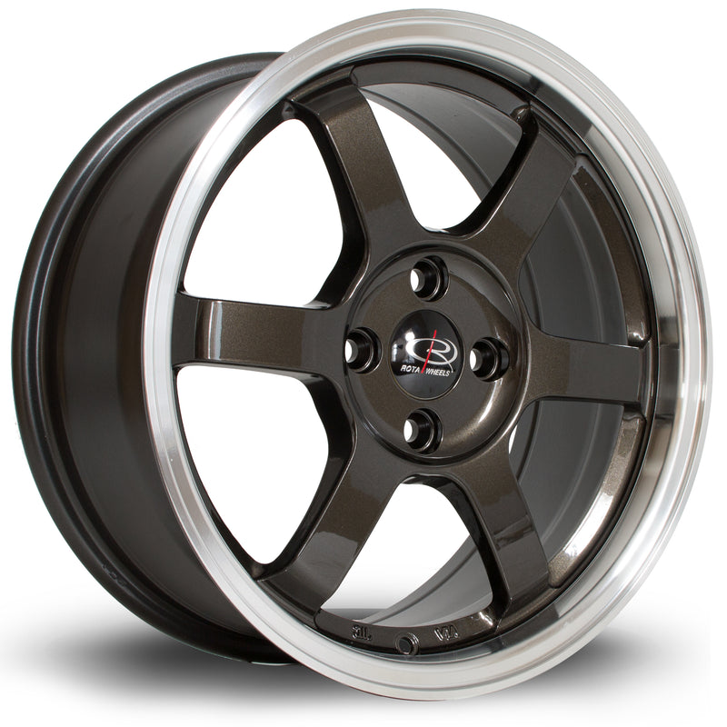 Rota Grid, 16 x 7 inch, 4100 PCD, ET40 Gunmetal Polished Lip - Rotashop