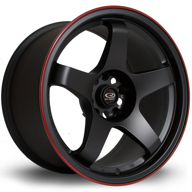 Rota GTR, 17 x 9.5 inch, 5114 PCD, ET30 Flat black Red Lip - Rotashop