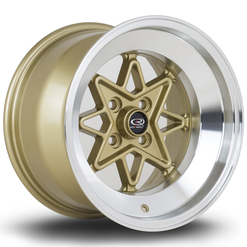 Rota HACHI, 15 x 9 inch,4X114.3 PCD,ET0, GOLD W/ POLISHED LIP - Rotashop