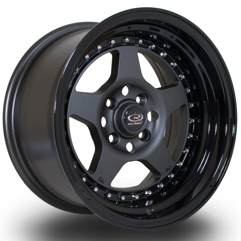 Rota Kyusha, 15 x 8 inch, 4100 PCD, ET0 Flat Gunmetal with Gloss Black Lip - Rotashop