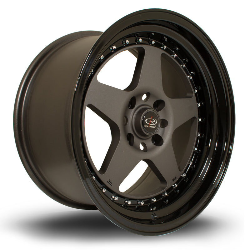 Rota Kyusha, 17 x 9.5 inch, 5114 PCD, ET0 Flat Gunmetal with Gloss Black Lip - Rotashop