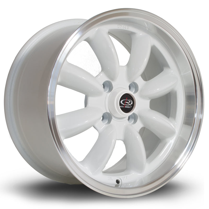 Rota RB, 15 x 8 inch, 4100 PCD, ET30 White with Polished Lip - Rotashop