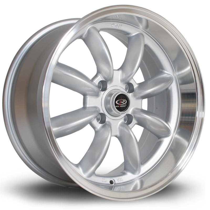 Rota RBR, 17 x 8.5 inch, 4114 PCD, ET4 Silver with Polished Lip - Rotashop