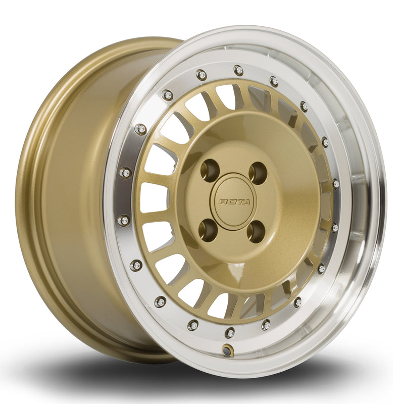 Rota Speciale, 15 x 7 inch, 4100 PCD, ET20 in Gold Polished Lip Single Rim - Rotashop
