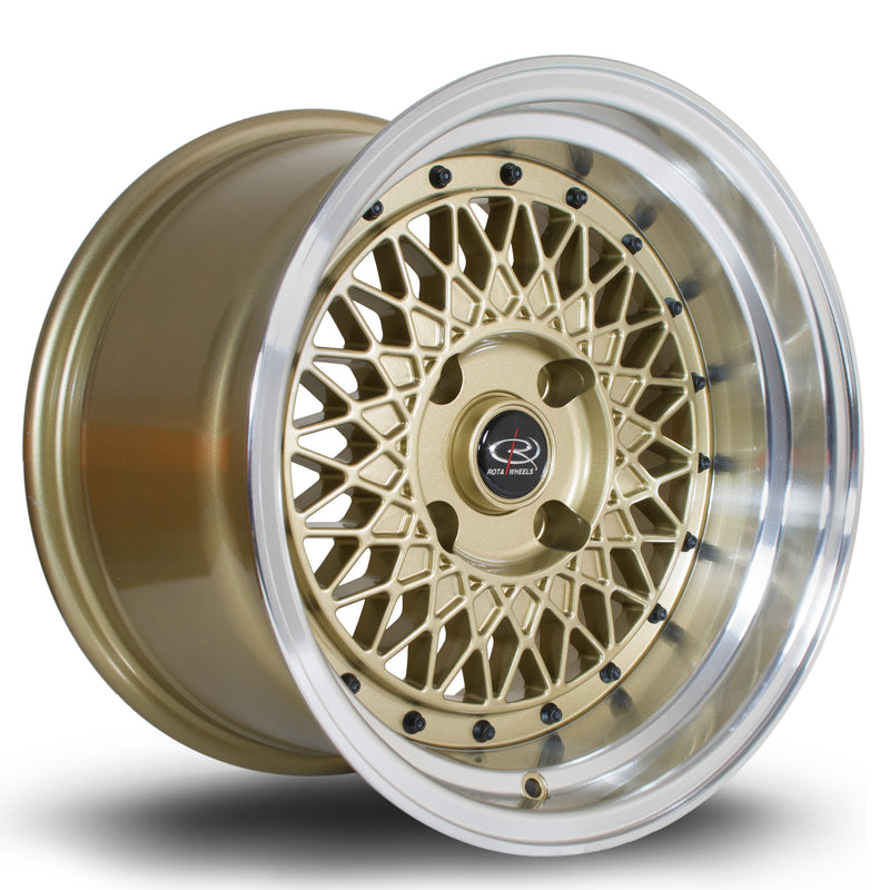 Rota Wired, 15 x 9 inch, 4114 PCD, ET0 Gold Polished Lip - Rotashop