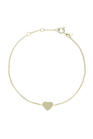 Yellow gold heart bracelet