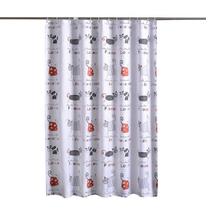 Cute Kitty Shower Curtain With Hooks Included