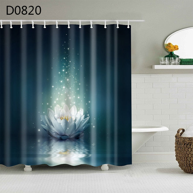 3D Shower Curtains with hooks included