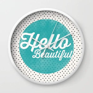 Hello Beautiful Teal Dots typography Wall clock