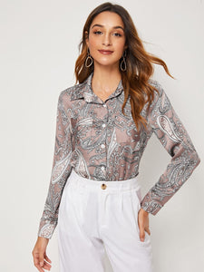 Paisley Print Button Front Satin Blouse