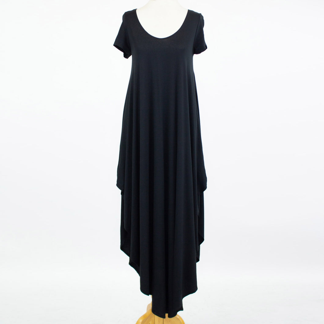 Side Slit Short Sleeve Casual Maxi Dress