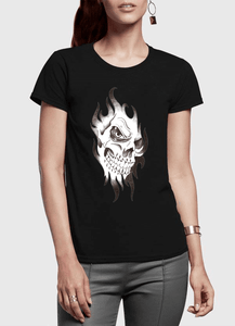 Skull Sketch Half Sleeves Women T-shirt