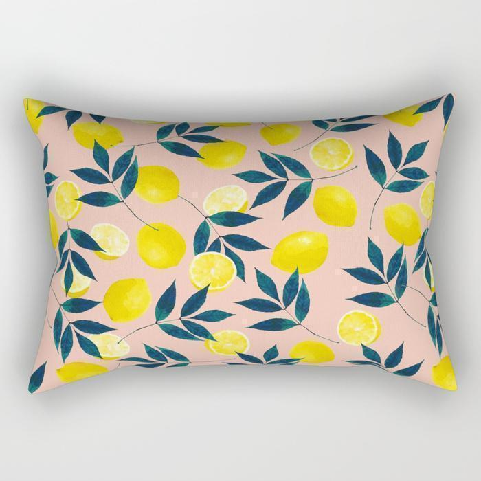 Lemon Floral Rectangle Pillow