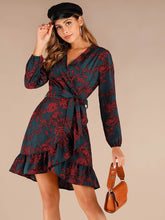 Load image into Gallery viewer, Floral Print Flounce Hem Belted Wrap Dress