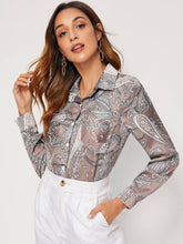 Load image into Gallery viewer, Paisley Print Button Front Satin Blouse