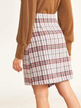 Load image into Gallery viewer, Plaid Button Front Asymmetrical Hem Wrap Skirt