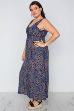 Load image into Gallery viewer, Plus Size Multi Navy Sleeveless Lace Up Maxi Boho Dress