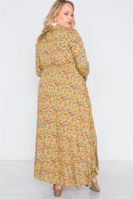 Load image into Gallery viewer, Plus Size  Floral Print Button Down Maxi Dress