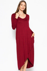 Plus Size Solid Maxi Dress With Pockets