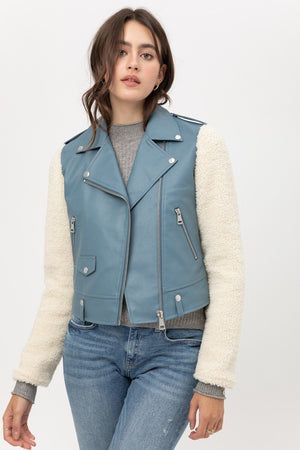 Stunning Non-Stretch Pu Jacket! - Blue