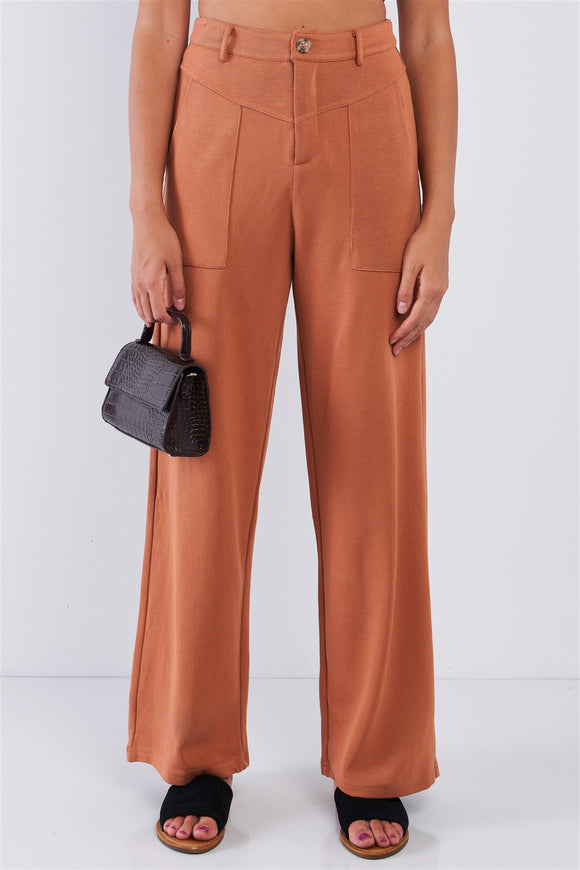 High Waisted Stretchy, Relaxed Fit Camel Pants