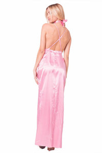 SATIN CHOKER MAXI DRESS