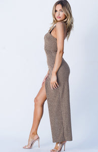 GLITTER TEXTURED, SIDE SLIT MAXI DRESS