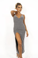 Load image into Gallery viewer, GLITTER TEXTURED, SIDE SLIT MAXI DRESS