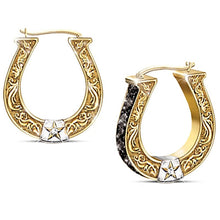 Load image into Gallery viewer, Exquisite Black and Gold Horseshoe Earrings