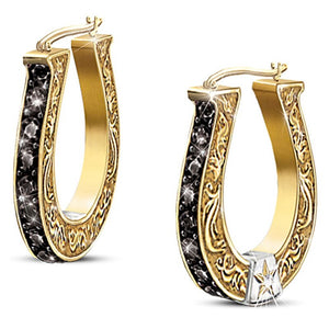 Exquisite Black and Gold Horseshoe Earrings